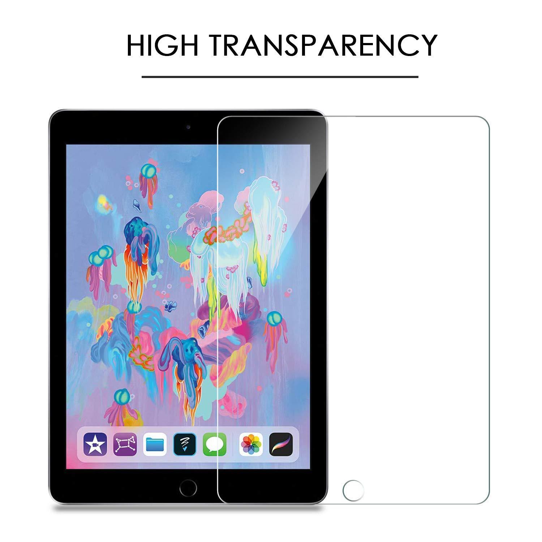 New iPad 2018// iPad 2017//iPad Air//iPad Pro 9.7 Film Protection Verre Tremp/é Protecteur Ecran OMOTON Lot de 2 9H, sans Bulles, Transparent