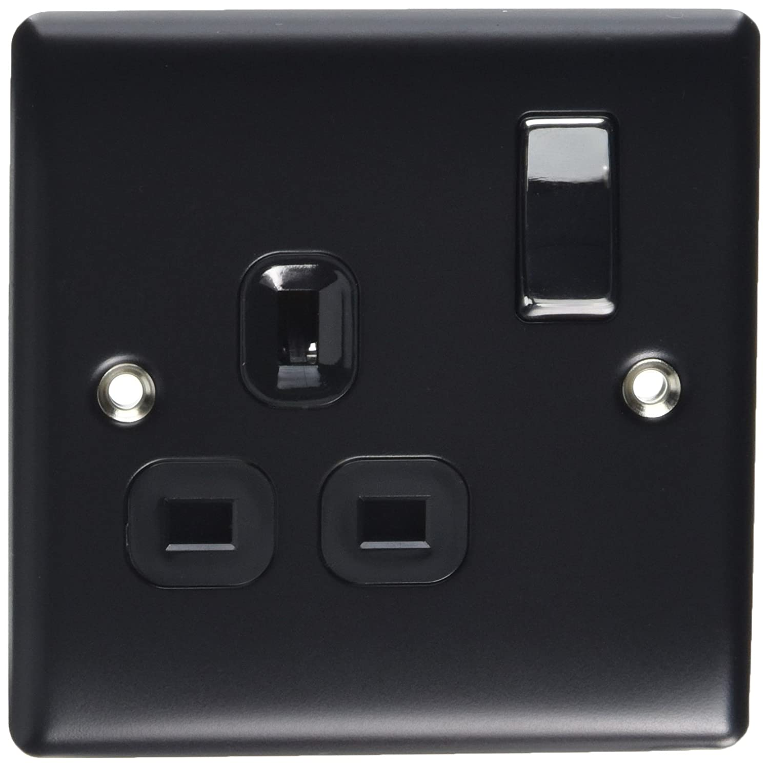 BG Electrical NBS21W 13amp Double Metal Brushed Steel Switched Power Socket White Insert