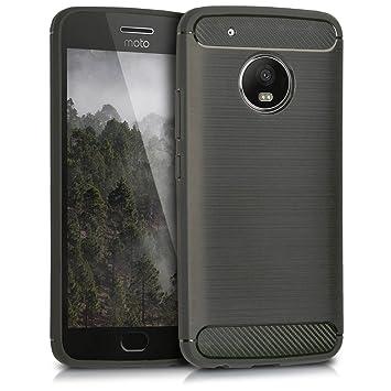 kwmobile Funda para Motorola Moto G5 Plus - Carcasa de TPU para móvil y diseño de Carbono Cepillado en Antracita