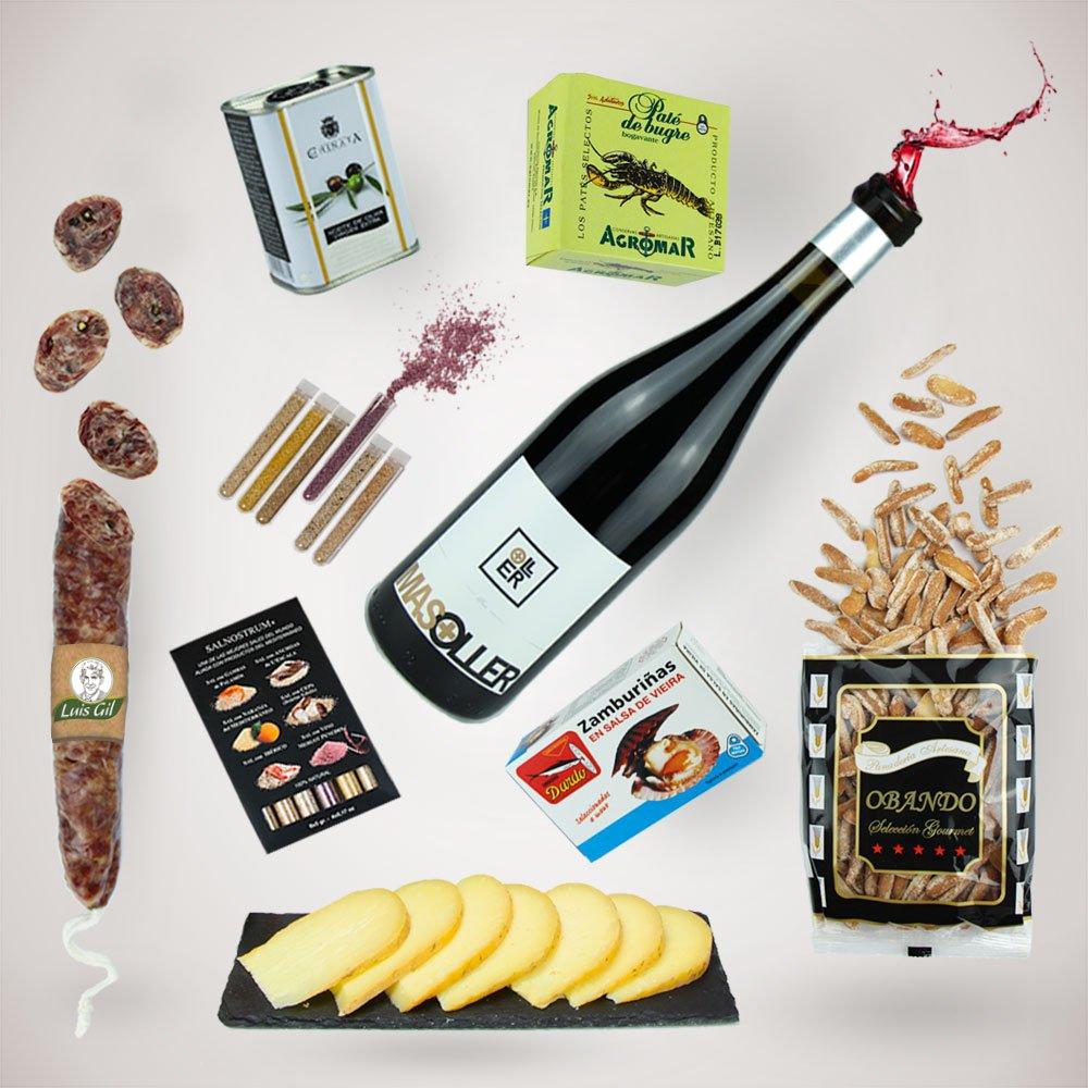 Caja de Degustación - Regalo Delicatessen de Lujo - Lote Gourmet con Vino, Fuet, Queso, Pate de Bogavante, Zamburiñas y mucho mas!: