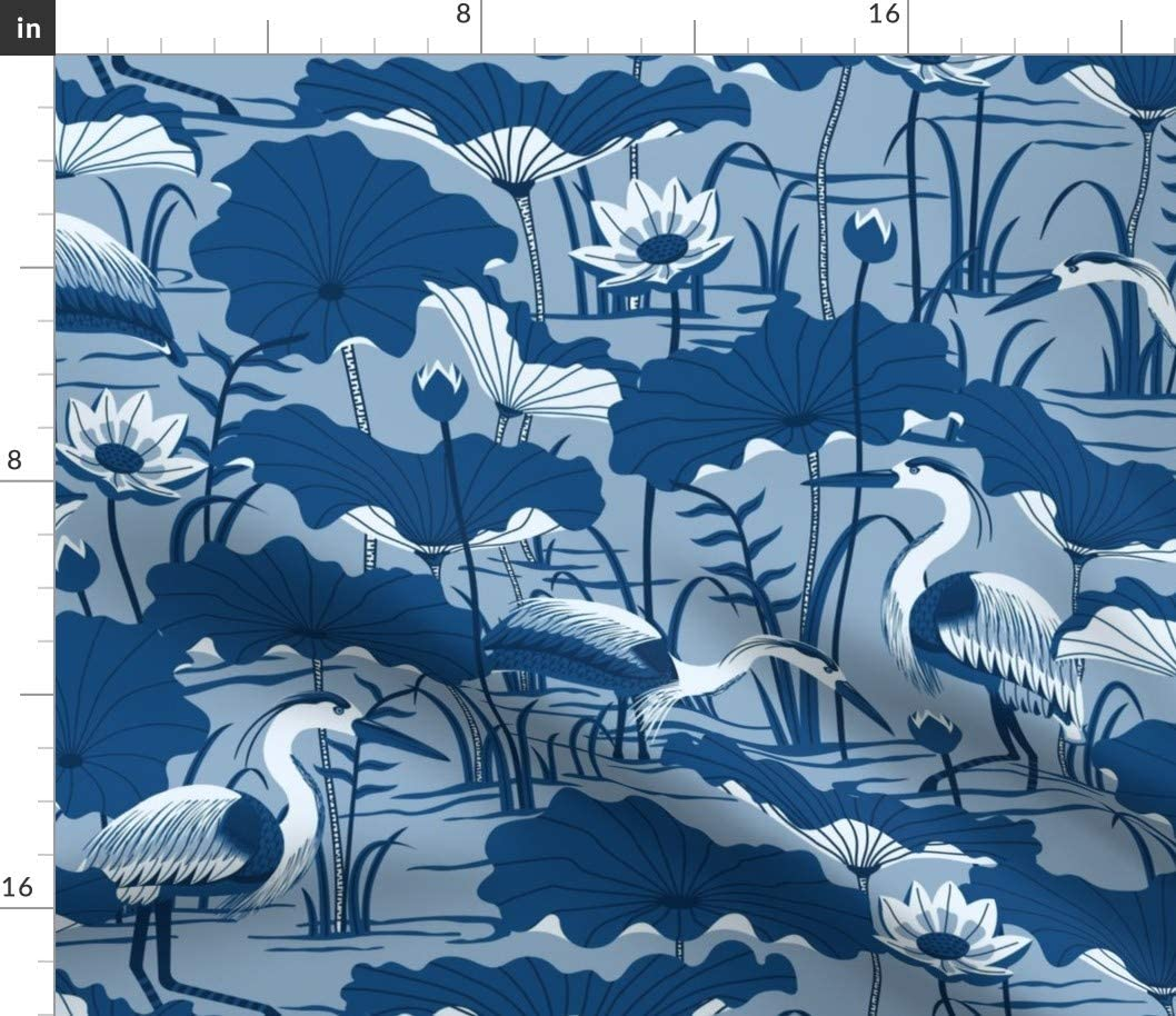 Spoonflower Fabric - Great Classic Blue Crane Heron Water Lotus Pond Flower Home Decor Printed on Petal Signature Cotton Fabric by The Yard - Sewing Quilting Apparel Crafts Decor
