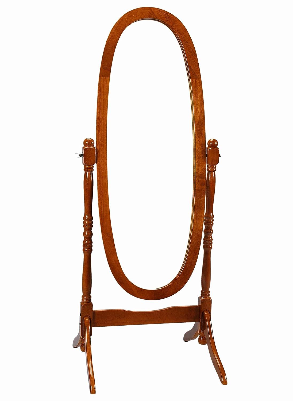 Amazon.com: Frenchi Home Furnishing Oak Cheval Mirror, Adjustable ...
