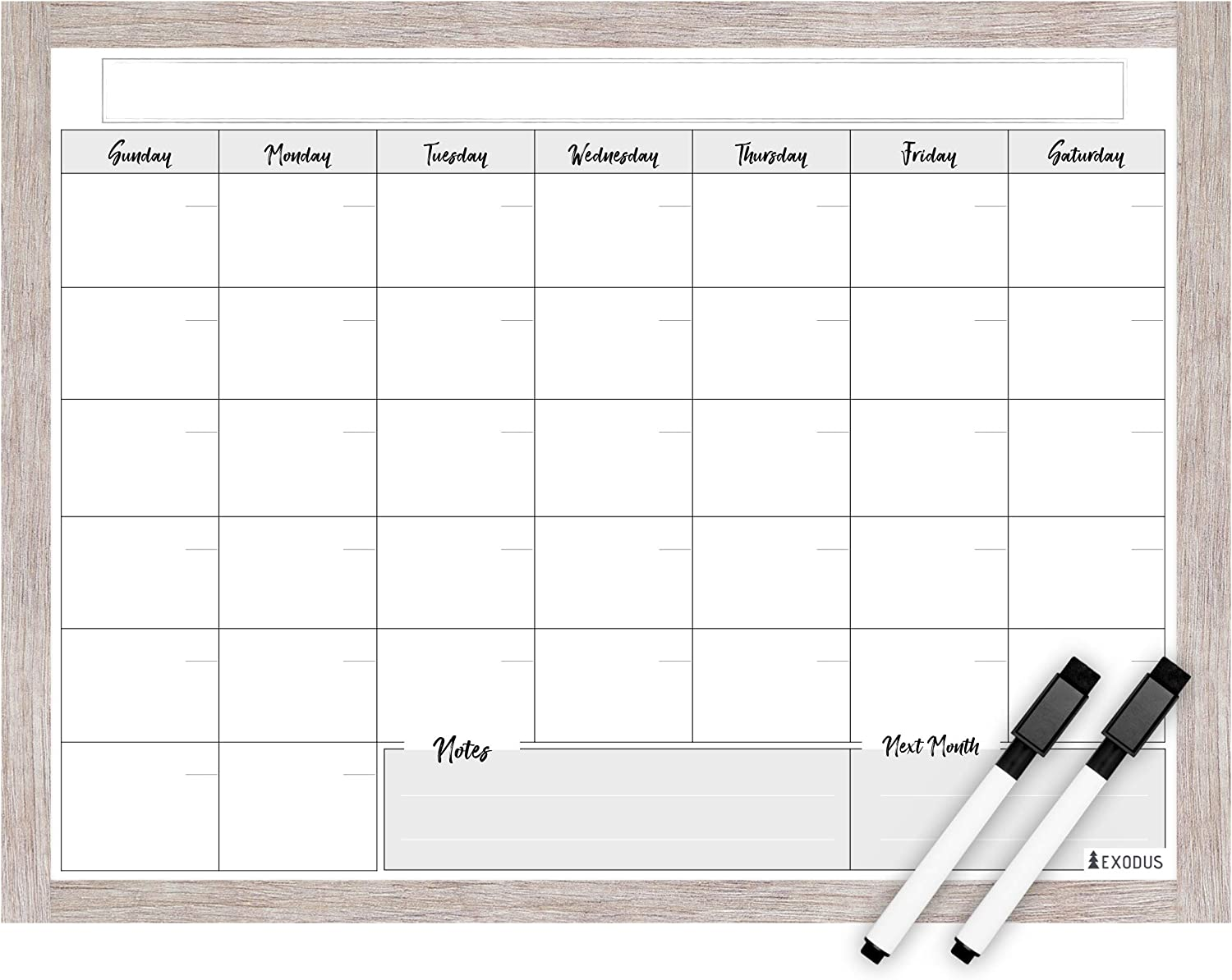 "EXODUS Dry-Erase Magnetic Fridge Calendar Complete Set with 2 Fine-Tip Black Markers 12""x16"" Premium Quality Dry Erase Film, Monthly Planning and Family Schedule Organizer, Rustic Wood-Design Border"
