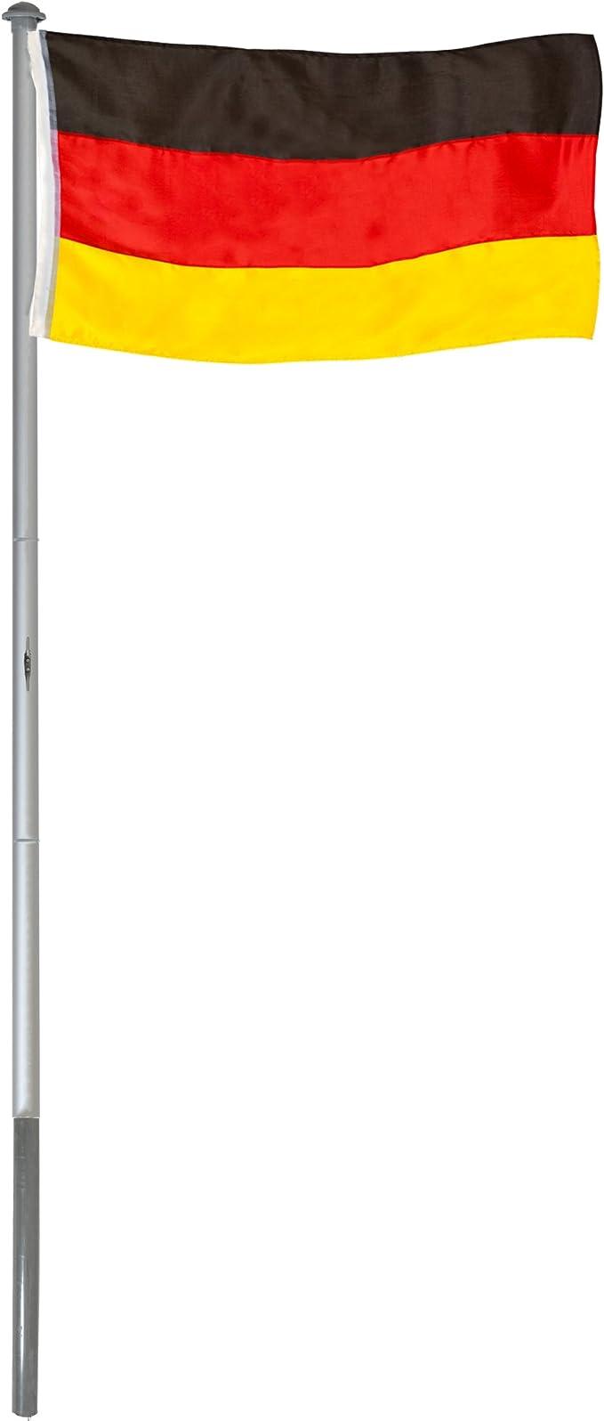 BRUBAKER Mástil Aluminio Exterior 6 m Incluye Bandera de Allemande 150 x 90 cm y Soporte de Tierra: Amazon.es: Jardín