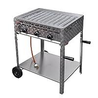 vidaXL Bräter 2+1 Gas Brenner 3-flammig XL Edelstahl silber Roaster Garten Balkon ✔ Rollen ✔ eckig ✔ rollbar ✔ stehend grillen ✔ Grillen mit Gas ✔ mit Rädern