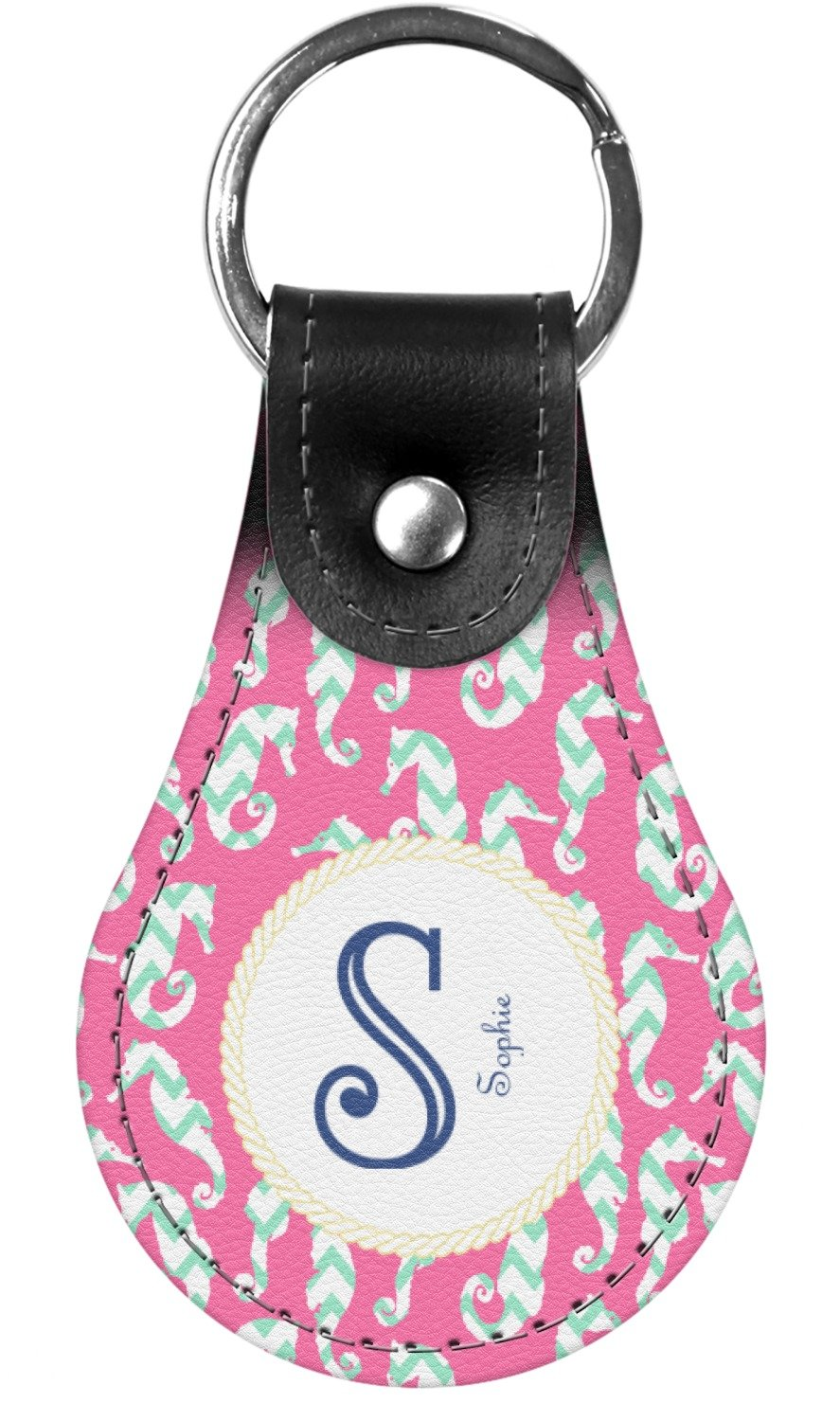 Sea Horses Genuine Leather Keychain (Personalized)
