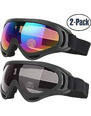13444b3026 COOLOO Lunettes de Ski, Lot de 2 Masques Snowboard de Protection avec UV 400 ,