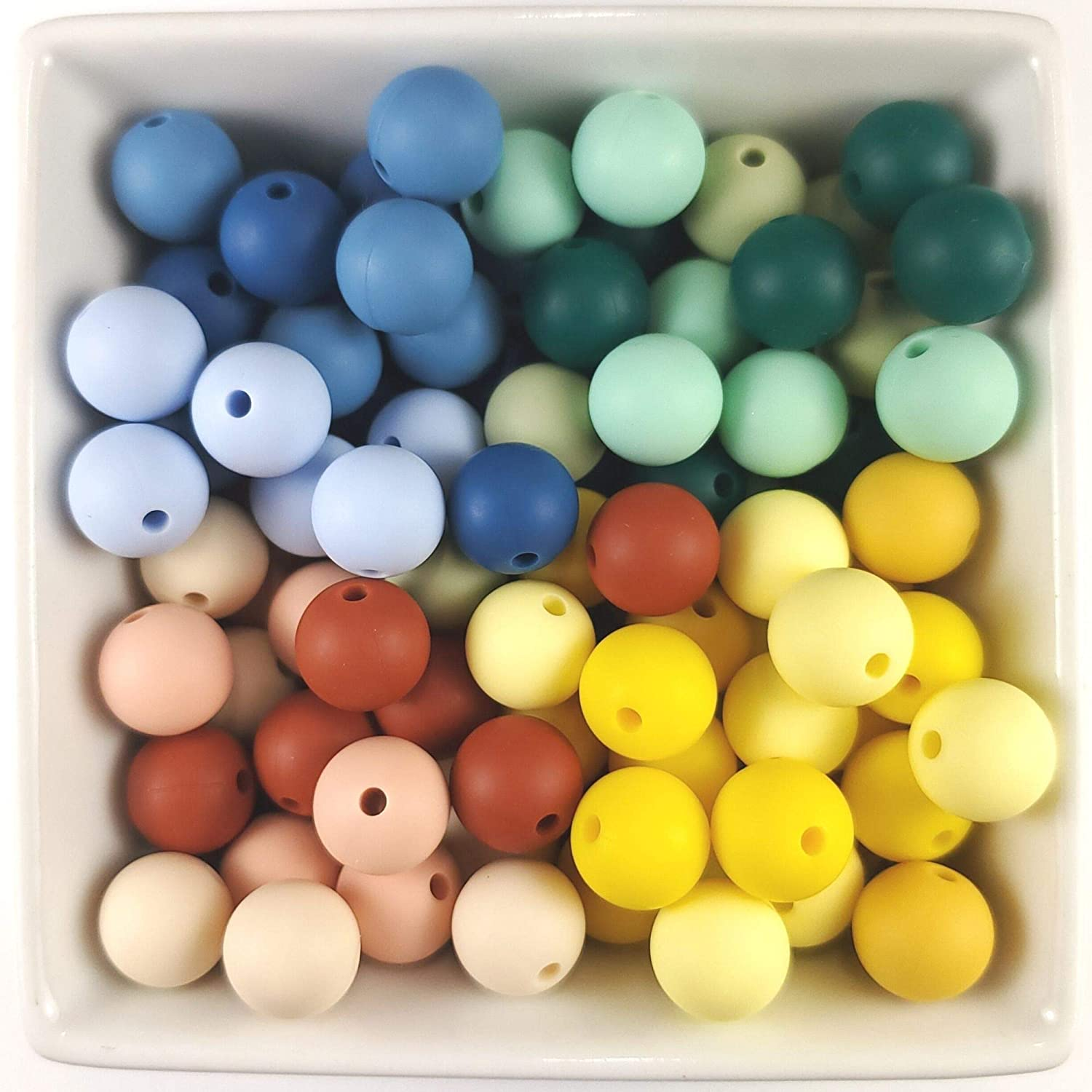 Silicone Beads - 100PC 12mm - Jewelry Necklace Bracelet Making Kit - Food Grade BPA Free Arts and Crafts Supplies (100PC Three Tone)