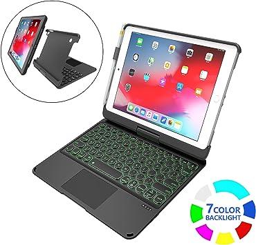 Funda Teclado para iPad 9.7 2017 y 2018 / iPad Air 1 y 2 / iPad Pro 9.7, Estuche Blando Desmontable, Estuche para iPad de 360 Colores con retroiluminación de 7 Colores inalámbrico: Amazon.es: Electrónica