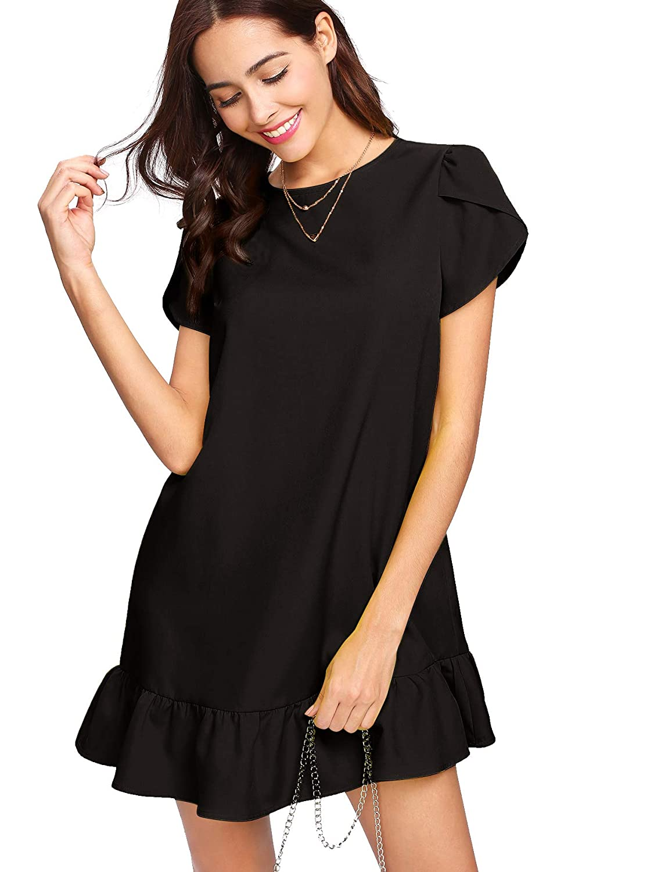 0215e88fc0b Verdusa Women's Round Neck Petal Short Sleeve Ruffle Hem Tunic Dress at  Amazon Women's Clothing store: