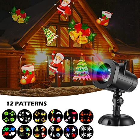 christmas lights halloween christmas star outdoor night shower snowflakes projector light decorations 12 slides show - Halloween Christmas Decorations