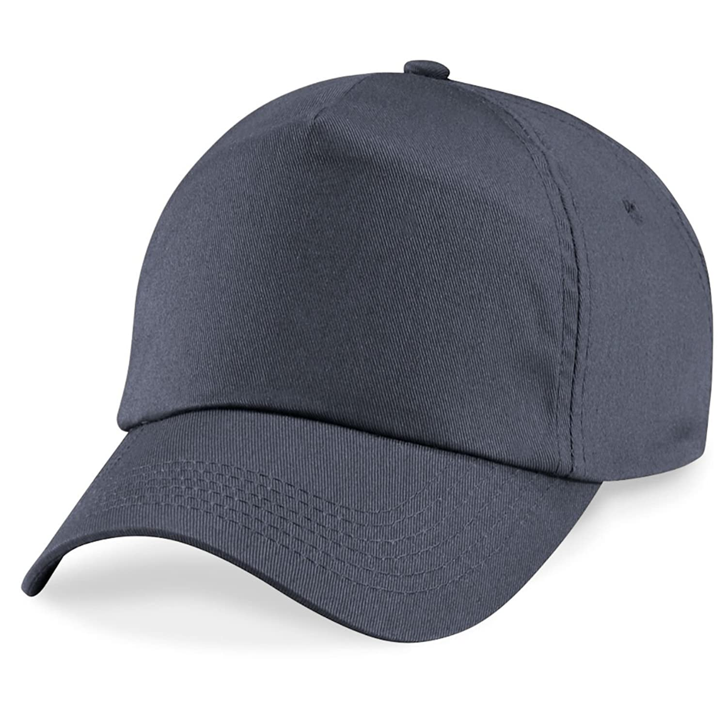 Beechfield 5 panel unlined cotton cap in Graphite Dunkelgrau