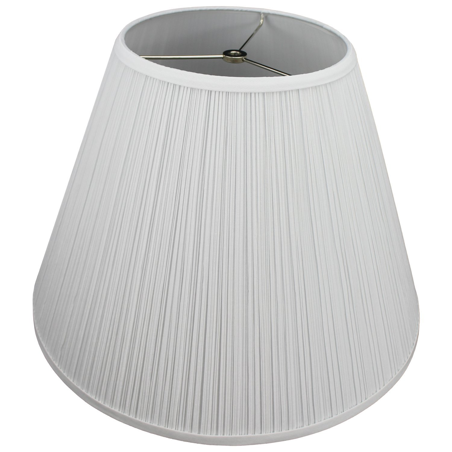 FenchelShades.com Lampshade 9'' Top Diameter x 18'' Bottom Diameter x 13'' Slant Height with Washer (Spider) Attachment for Lamps with a Harp (Pleated White)