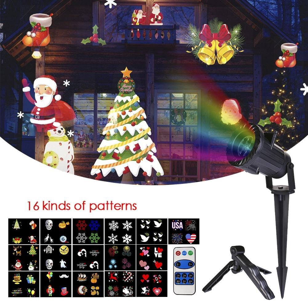 Feileng Christmas Projector Lights Wireless Remote Control 15 Pieces Rechargeable Film LED Lights Waterproof Christmas Halloween Garden Lamp Decoration Outdoor Feileng|ADSADA