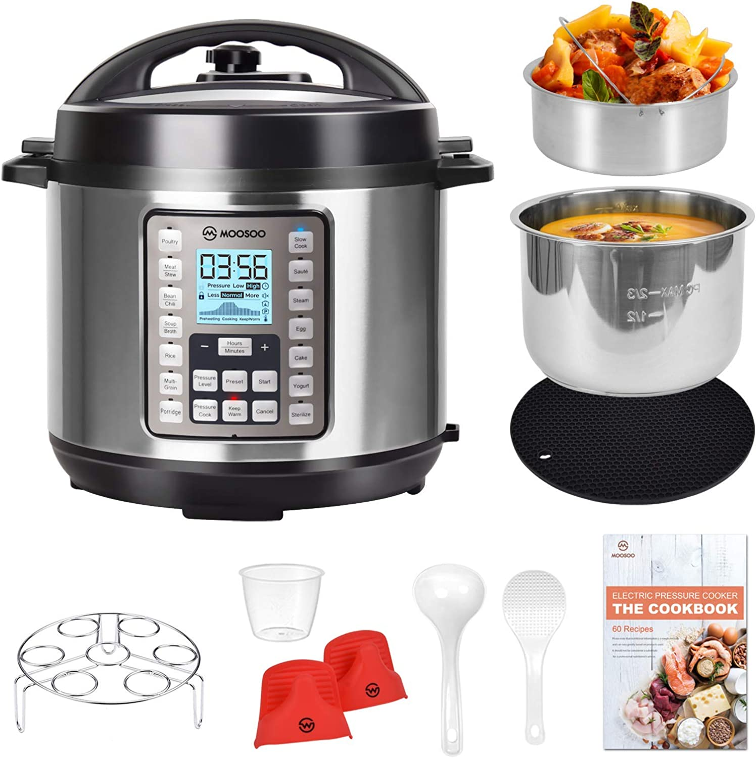 MOOSOO 9-in-1 Electric Pressure Cooker with LCD, 6QT Instant Programmable Pressure Pot, 15 One-Touch Programs with Deluxe Accessory Set (Renewed)