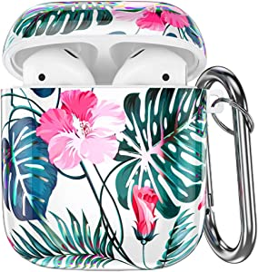 Hamile Compatible with Airpods Case Cover Cute Protective Case for Apple Airpods 2 & 1, Fadeless Shockproof Hard Case Cover with Portable Keychain for Girls Women Men - Electroplating Pink Flower
