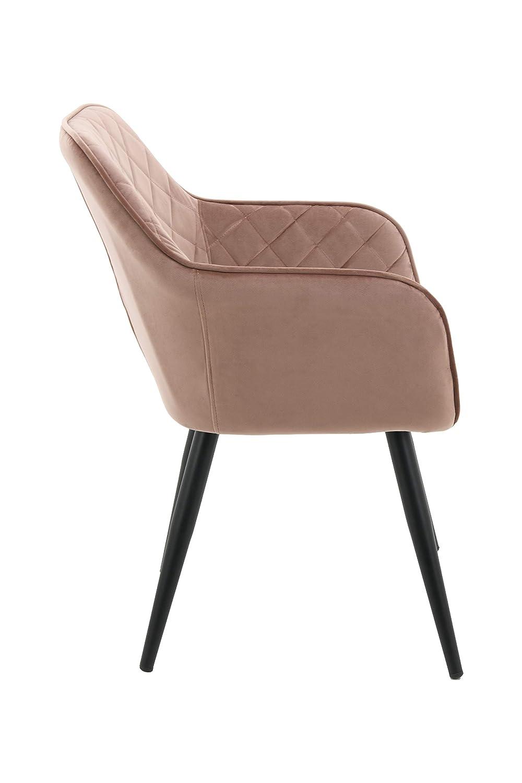 HNNHOME® Set med 2 x Dalton stoppad kök matstol med armar och rygg, starkt metallben, vardagsrum sammet fåtöljmottagning badkarsstol (mörkgrön, 2) Rosa