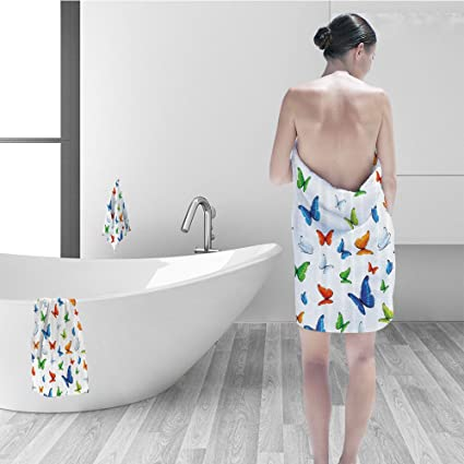 Amazon Nalahomeqq Bath Towel Set Butterflies Decoration Magnificent Bathroom Clipart Set