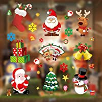 Christmas Window Clings, Miss Rui 10 Sheets Christmas Window Stickers, Snowflakes Reindeer Santa Claus Static Clings for…