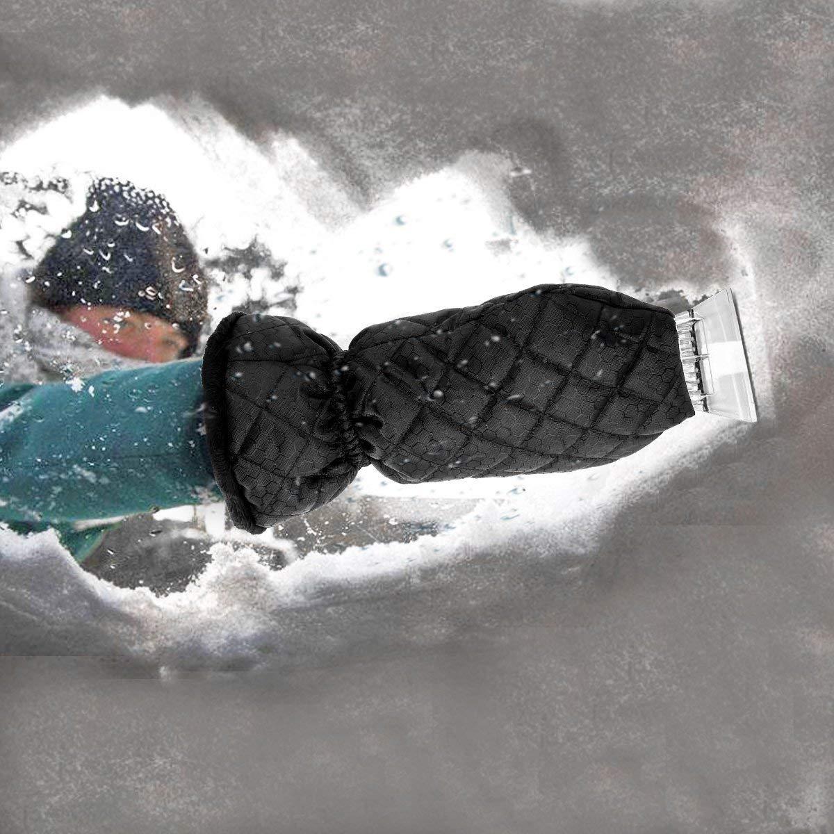 MATCC Ice Scraper for Car 2 Pack Windscreen Scraper with Glove Car Scraper Mitts with Waterproof Snow Remover Lined of Thick Fleece Window Scraper Black