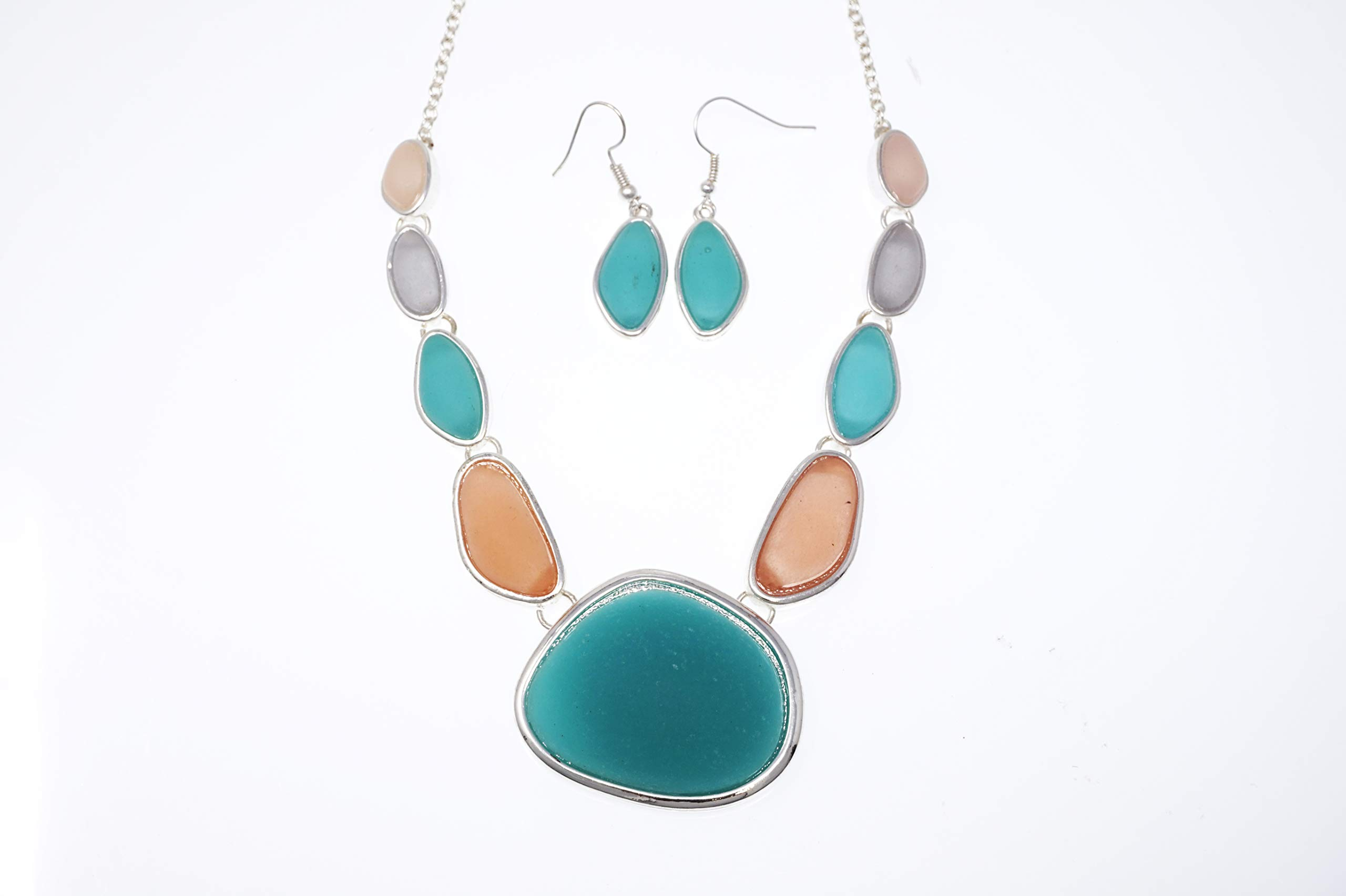 Elosee Seaglass Bib Statement Multi Tone 18'' Necklace & Matching Earrings