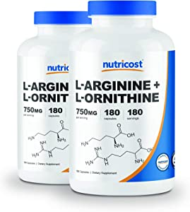 Nutricost L-Arginine L-Ornithine 750mg; 180 Capsules (2 Bottles)