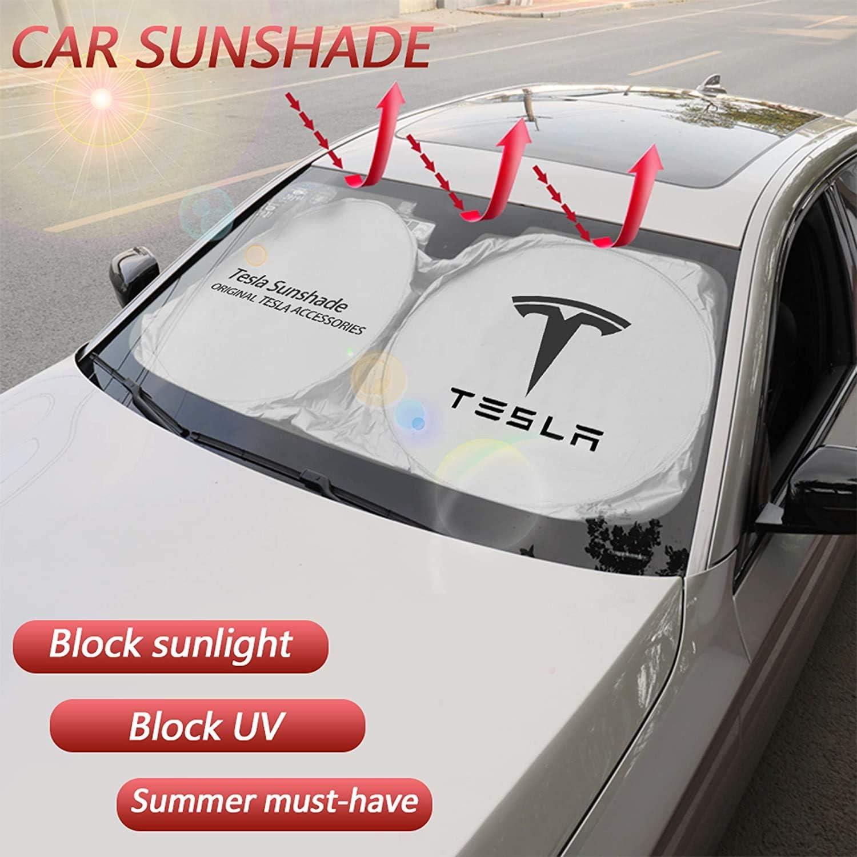 L/&U Parabrisas del Coche Parasol Plegable Parasol Protector para el 2020 Tesla Model S 2018 2019 2020 Tesla Model 3 Tesla Model S 2012-2018 bloquea los Rayos UV