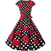 DRESSTELLS Retro 1950s Solid Color Cocktail Dresses Vintage Swing Dress with Cap-Sleeves