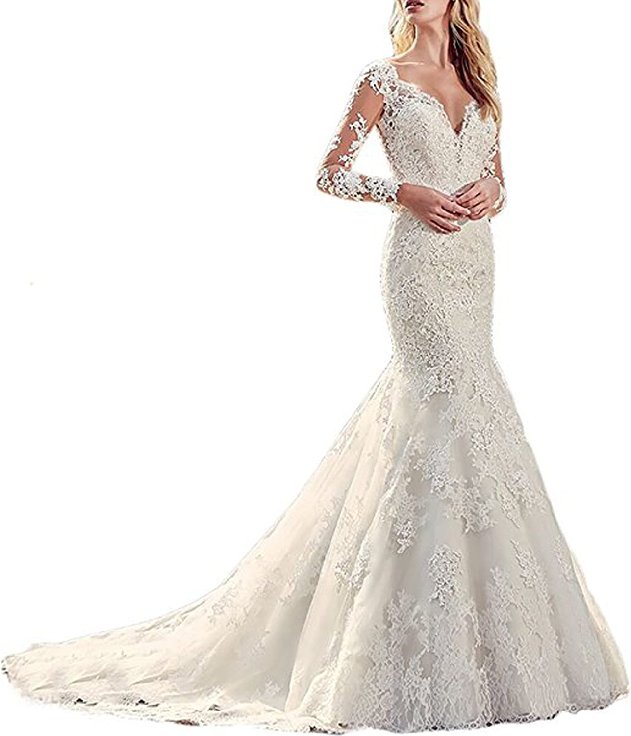 WeddingDazzle Womnes Lace Appliques Beaded Mermaid Wedding Dress 2018 Bridal Gowns