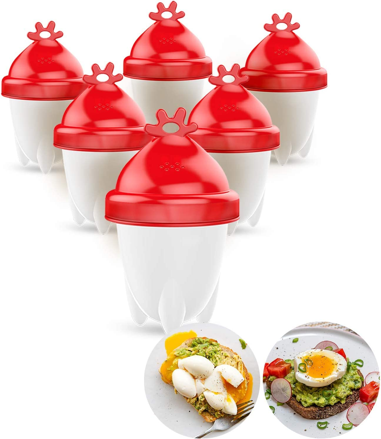 BPA-free hard boiled egg cooker Aribest easy egg cooker FDA non-stick silicone 6 pieces silicone egg boil egg maker new version!