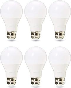 AmazonBasics Commercial Grade 25,000 Hour LED Light Bulb | 40-Watt Equivalent, A19, Soft White, Dimmable, 6-Pack