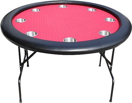 EBS Mesa de Poker Redonda 8 Jugadores Portavasos Patas Plegables ...