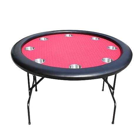 EBS Mesa de Poker Redonda 8 Jugadores Portavasos Patas Plegables de Metal - Rojo 120cm
