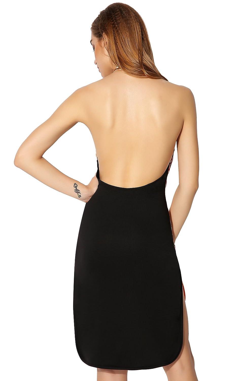 Fanala Ladies Women Sleeveless Front Hollow Out Halter Irregular Hem Dress
