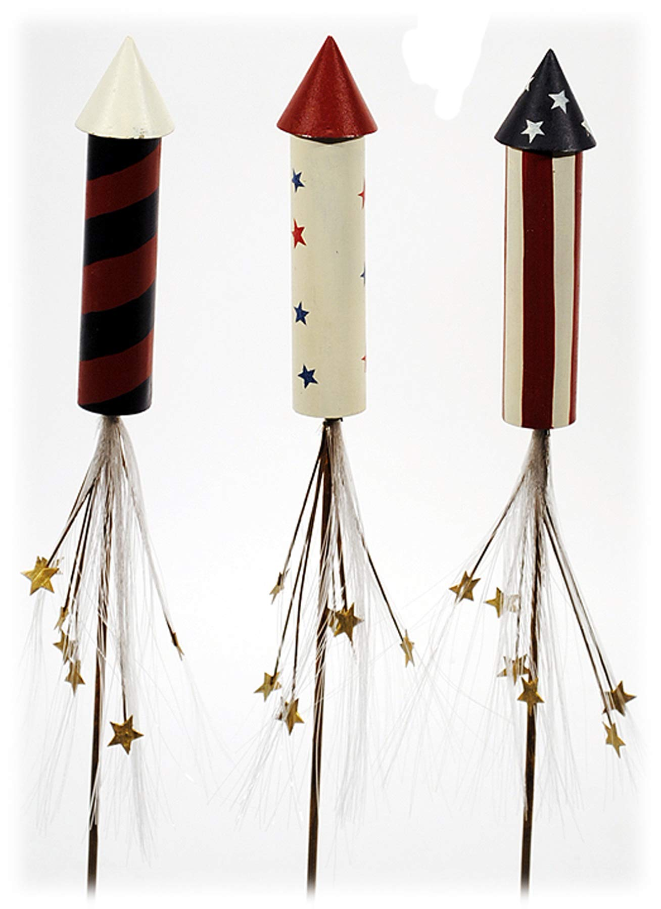 Metal Rocket Plant Stake - Set of 3 - USA Patriotic July 4th Home Floral Decor