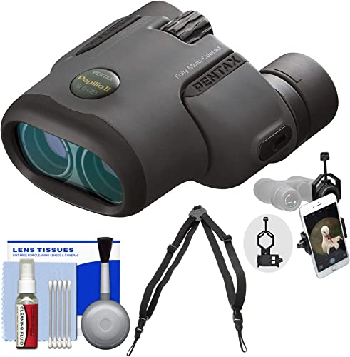 Pentax Papilio II 8.5×21 Binoculars with Harness Strap Smartphone Adapter Cleaning Kit