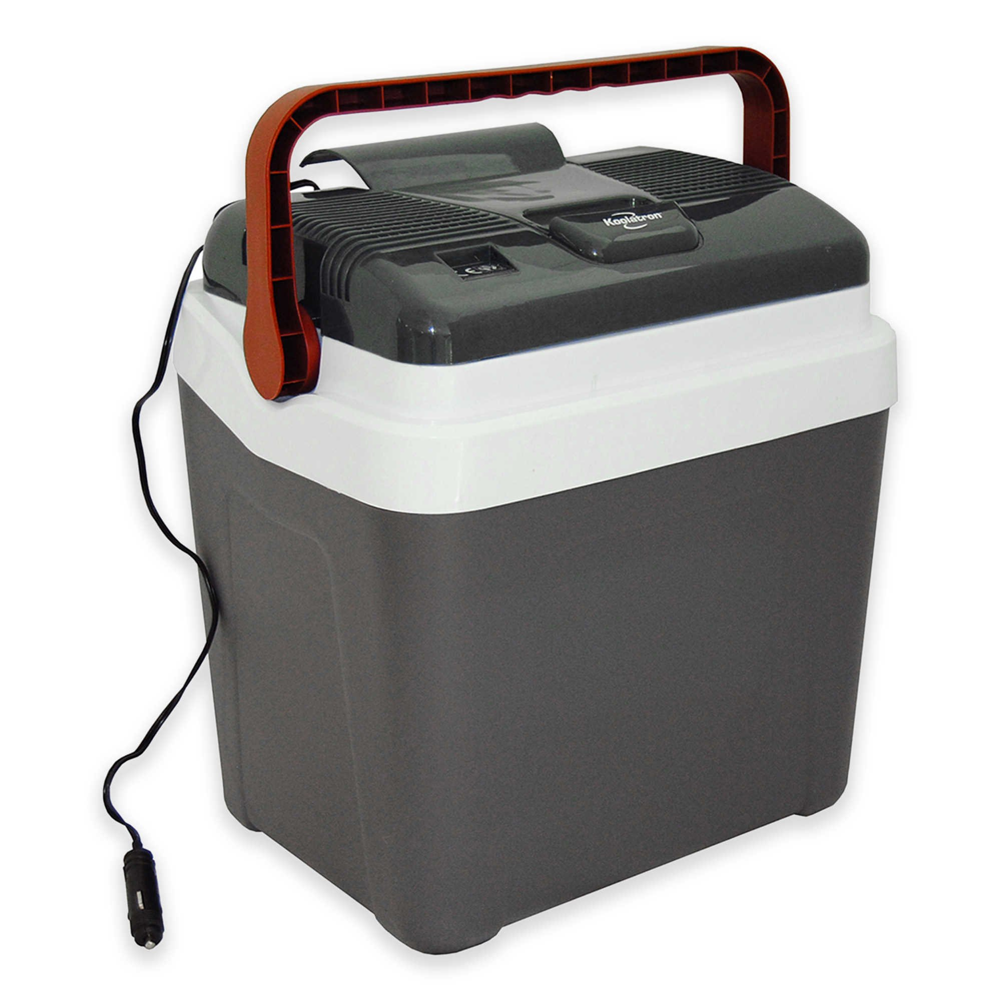 Koolatron 26 qt. Grab-and-Go Fun Plastic Cooler with Locking Flip-Up Handle in Grey/White