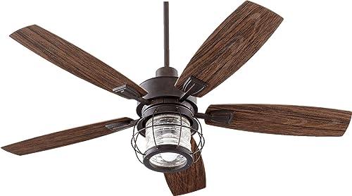 Quorum 13525-44 Galveston – 52 Inch Patio Fan with Light Kit, Toasted Sienna Finish with Walnut Blade Finish