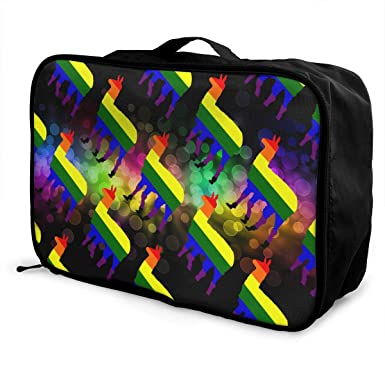 Amazon.com: LGBT Gay Rainbow Llama Luggage Bag Capacity ...