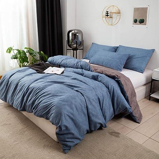 Amazon.com: Omelas 3Pcs Blue Gray Duvet Cover Set Queen Size