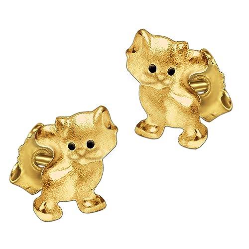 Clever joyas de oro pendientes pequeños Mini gato 6 mm, con ojos negros Mate y brillante 333 Oro 8 quilates para niños en estuche