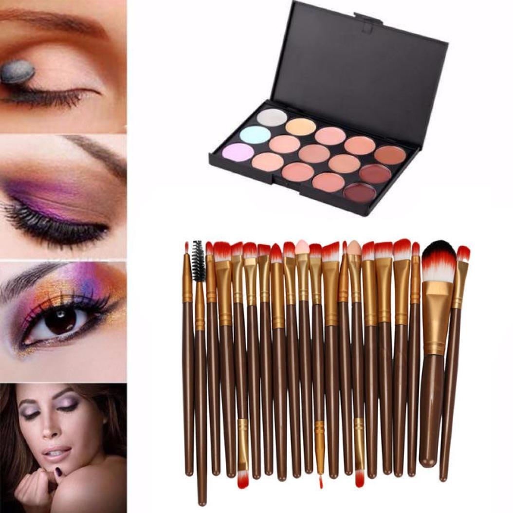 Kingfansion 15 Colors Contour Face Cream Makeup Concealer Palette Professional + 20 BRUSH (coffee)