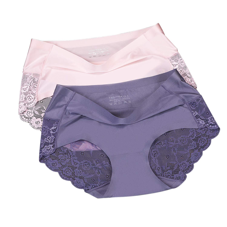 8274c33724c Ensence Women's 2 Pack Lace Sexy Panties Women Underwear Lingerie Brief  Satin Silk Panty (Pink-Violet, Medium)