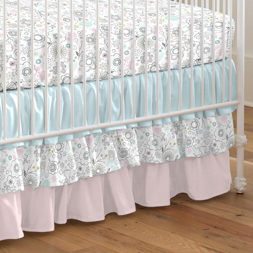 Carousel Designs Pink Doodles Crib Skirt Three Tier 18-Inch Length