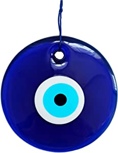 Erbulus 5.90'' Glass X-Large Blue Evil Eye Wall Hanging Ornament – Turkish Nazar Bead - Home Protection Charm - Wall Decor Amulet in a Box