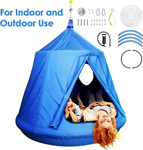 amzdeal Hammock Swing Tent for Kids for Indoor and Outdoor Use Hammock Chair Waterproof UV-Resistant with 2 Portholes Removable Inflatable Cushions Up to 220 lbs Blue