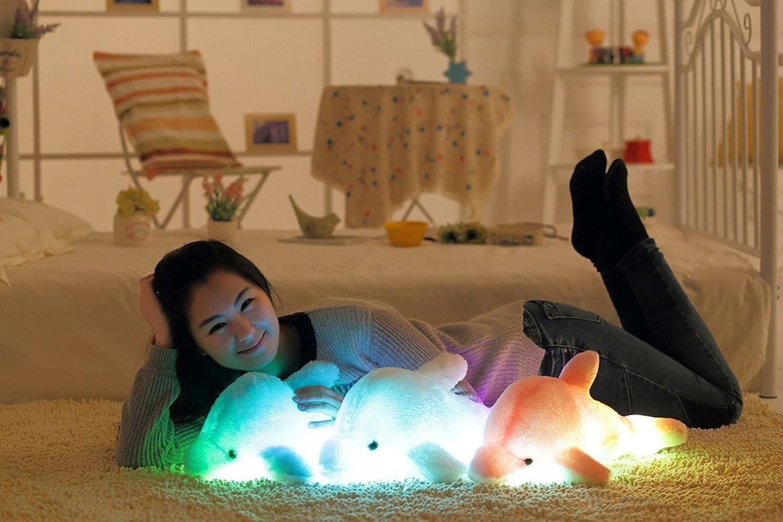 Azul, 45cm Zinsale 7 cambio de color LED aclarar Juguete de delf/ín relleno Almohada de felpa Luz de noche balancines de peluche
