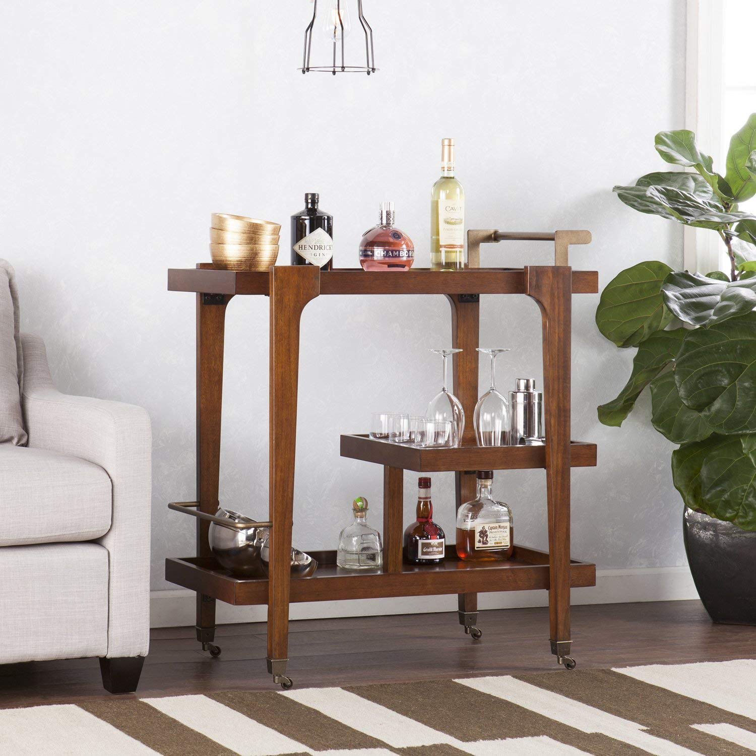 Midcentury Modern Bar Cart, Dark Tobacco w/ Aged Brass, Modern Style, 3-tier Bar/Serving Cart, Bottom Shelf has Guardrail to Protect Bottles, Roll with Ease or Lock in Place with Functional Casters