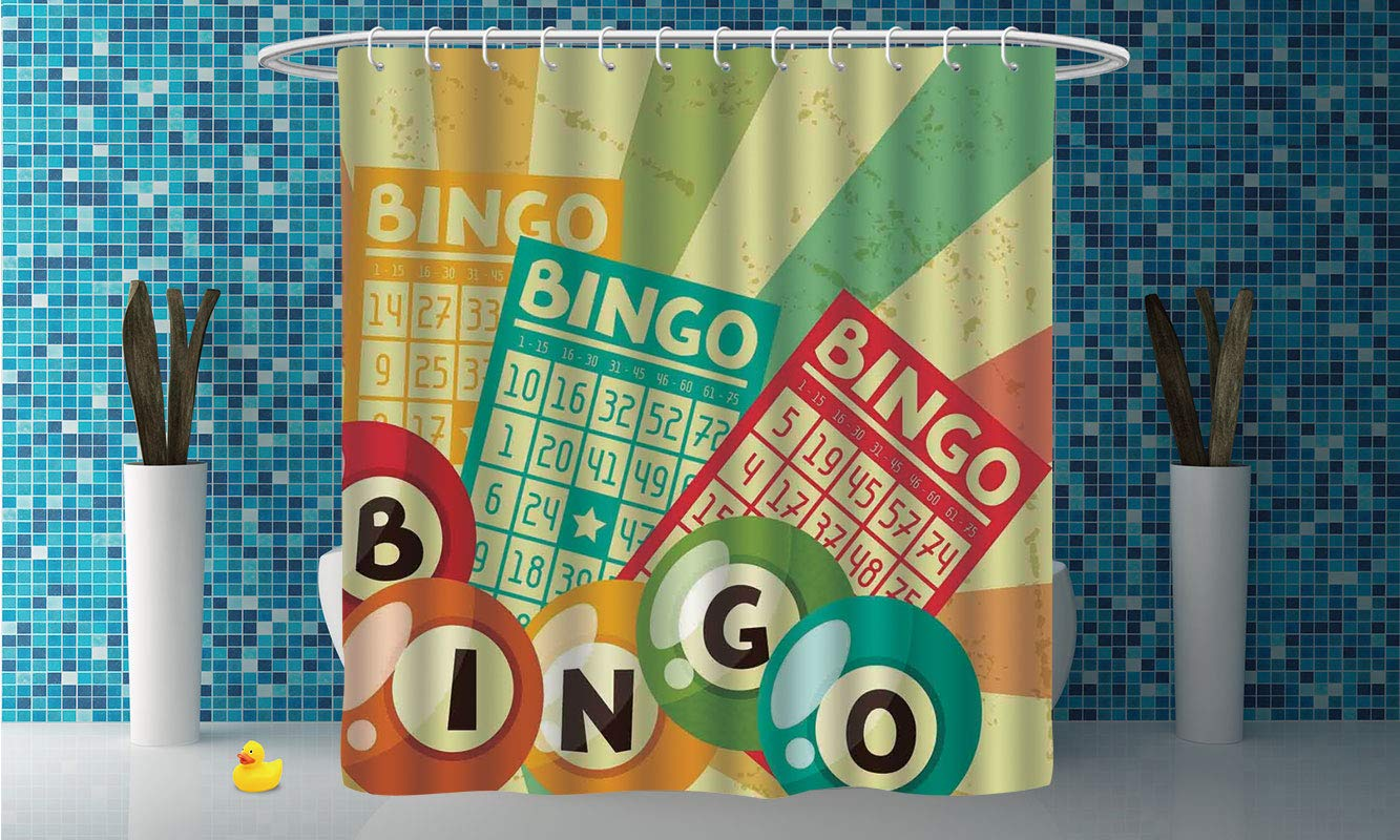 iPrint Shower Curtain [ Vintage Decor,Bingo Game with Ball and Cards Pop Art Stylized Lottery Hobby Celebration Theme,Multi ] Decorative Shower Curtain Ideas by iPrint