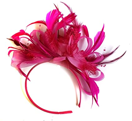 Image Unavailable. Image not available for. Colour  Fuchsia Hot Pink  Feather Hair Fascinator Headband ... b8a7c0180f8